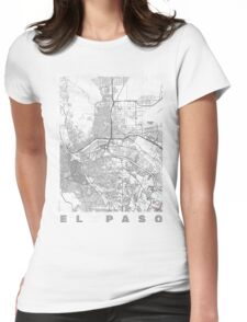 El Paso Map Line Womens Fitted T-Shirt