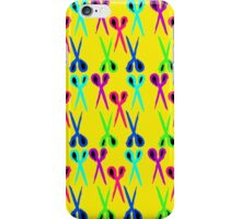 80s style very bright scissors pattern iPhone Case/Skin