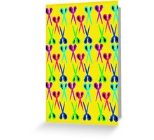 80s style very bright scissors pattern Greeting Card