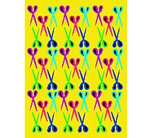 80s style very bright scissors pattern Photographic Print