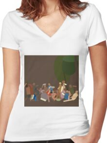 Bellini's Shape of Time Women's Fitted V-Neck T-Shirt