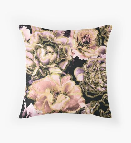Peach, Lilac, Gold, and Black Floral Pattern Throw Pillow