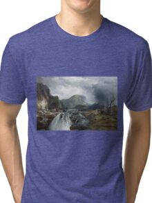 Thomas Moran - The Wilds Of Lake Superior. Mountains landscape: mountains, rocks, rocky nature, sky and clouds, trees, peak, forest, rustic, hill, travel, hillside Tri-blend T-Shirt