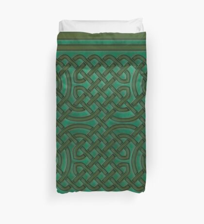 Celtic Knotwork on Green Texture Duvet Cover
