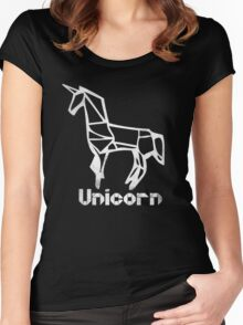 Origami Unicorn Retro Women's Fitted Scoop T-Shirt