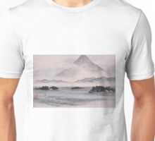 Utagawa Hiroshige - Fuji Marsh, Suruga Province, From Twelve Views Of Mt. Fuji. Mountains landscape: mountains, rocks, rocky nature, sky and clouds, trees, peak, forest, rustic, hill, travel, hillside Unisex T-Shirt