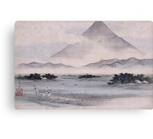 Utagawa Hiroshige - Fuji Marsh, Suruga Province, From Twelve Views Of Mt. Fuji. Mountains landscape: mountains, rocks, rocky nature, sky and clouds, trees, peak, forest, rustic, hill, travel, hillside Canvas Print