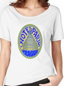 HOTEL PARIS PRAGUE Czechoslovakia Vintage Luggage Label Baggage Sticker Decal Women's Relaxed Fit T-Shirt