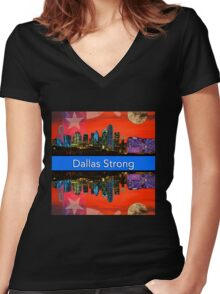 Dallas Strong - Sunset Dallas Skyline Women's Fitted V-Neck T-Shirt