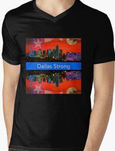 Dallas Strong - Sunset Dallas Skyline Mens V-Neck T-Shirt