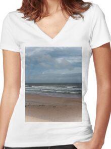 Beautiful Beach Memories Women's Fitted V-Neck T-Shirt