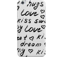 Love lettering seamless pattern.  Shabby background. Hand drawn words wallpaper.  iPhone Case/Skin