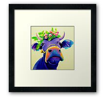 Matilda Purple Cow with Flower Crown Framed Print
