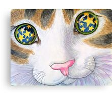 """His eyes shine like stars, from the childrens book """" The magnificent cat"""" by Sharon Thompson. available from amazon Canvas Print"""