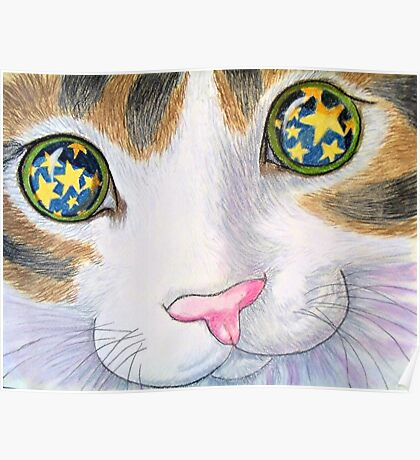 """His eyes shine like stars, from the childrens book """" The magnificent cat"""" by Sharon Thompson. available from amazon Poster"""