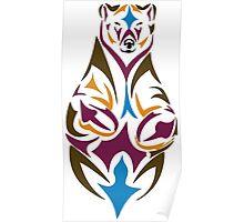Tribal bear colour Poster
