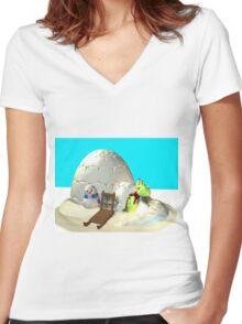Drachi am Nordpol Women's Fitted V-Neck T-Shirt