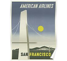 American Airlines San Francisco Vintage Travel Poster  Poster