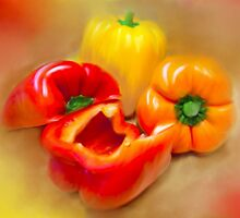 Yellow, Red and Orange Peppers by MaryTimman