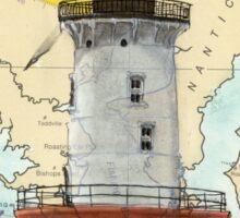 Hooper Island Lighthouse MD Map Cathy Peek Art Sticker