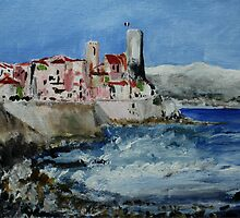 Antibes French Coastal Seascape Acrylic Painting by JamesPeart