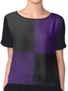 Patchwork Purple and Black Leather Motley Chiffon Top