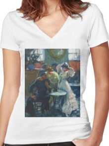 Ricard Canals Llambi - Al Bar. Cafe view: drinking and eating party, woman and man, people, family, female and male, peasants, cafe, romance, women and men, restaurant, food Women's Fitted V-Neck T-Shirt