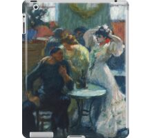 Ricard Canals Llambi - Al Bar. Cafe view: drinking and eating party, woman and man, people, family, female and male, peasants, cafe, romance, women and men, restaurant, food iPad Case/Skin