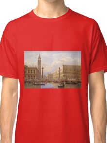 Salomon Corrodi - A View Of The Piazzetta With The Doges Palace From The Bacino, Venice. Urban landscape: Venice, port, dock, buildings, ship canal, gondola, gondolas, gondolier, gondoliers, boats Classic T-Shirt