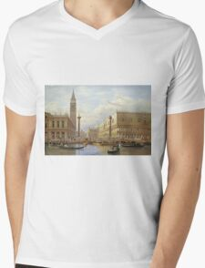 Salomon Corrodi - A View Of The Piazzetta With The Doges Palace From The Bacino, Venice. Urban landscape: Venice, port, dock, buildings, ship canal, gondola, gondolas, gondolier, gondoliers, boats Mens V-Neck T-Shirt