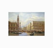 Salomon Corrodi - A View Of The Piazzetta With The Doges Palace From The Bacino, Venice. Urban landscape: Venice, port, dock, buildings, ship canal, gondola, gondolas, gondolier, gondoliers, boats Unisex T-Shirt