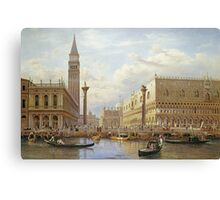 Salomon Corrodi - A View Of The Piazzetta With The Doges Palace From The Bacino, Venice. Urban landscape: Venice, port, dock, buildings, ship canal, gondola, gondolas, gondolier, gondoliers, boats Canvas Print