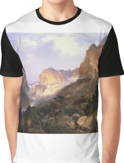 Thomas Moran - Golden Gate, Yellowstone National Park. Mountains landscape: mountains, rocks, rocky nature, sky and clouds, trees, peak, Canyon,  National Park, hill, travel, hillside Graphic T-Shirt