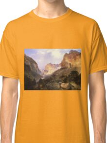 Thomas Moran - Golden Gate, Yellowstone National Park. Mountains landscape: mountains, rocks, rocky nature, sky and clouds, trees, peak, Canyon,  National Park, hill, travel, hillside Classic T-Shirt