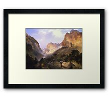 Thomas Moran - Golden Gate, Yellowstone National Park. Mountains landscape: mountains, rocks, rocky nature, sky and clouds, trees, peak, Canyon,  National Park, hill, travel, hillside Framed Print
