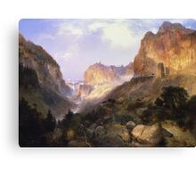 Thomas Moran - Golden Gate, Yellowstone National Park. Mountains landscape: mountains, rocks, rocky nature, sky and clouds, trees, peak, Canyon,  National Park, hill, travel, hillside Canvas Print