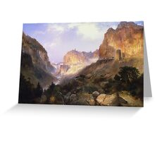 Thomas Moran - Golden Gate, Yellowstone National Park. Mountains landscape: mountains, rocks, rocky nature, sky and clouds, trees, peak, Canyon,  National Park, hill, travel, hillside Greeting Card