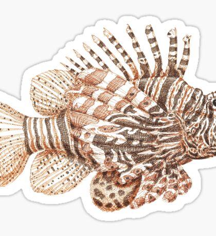 Lionfish illustration, pen and ink Sticker