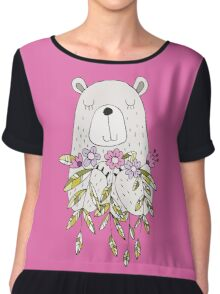 Cartoon Animals Cute Bear With Flowers Chiffon Top