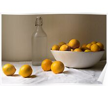 Yellow lemons in white bowl with bottle of water Poster