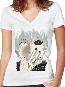 Kaneki Ken Women's Fitted V-Neck T-Shirt