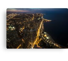 Nightime Chicago looking north from the John Hancock observatory. Canvas Print