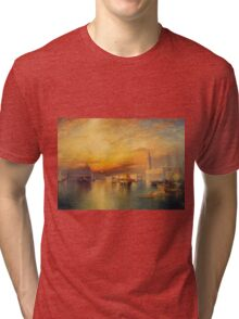 Thomas Moran - Grand Canal, Venice 1898. Mountains landscape: mountains, rocks, rocky nature, sky and clouds, trees, peak, forest, Canyon, hill, travel, hillside Tri-blend T-Shirt