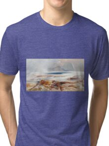 Thomas Moran - Hot Springs Of The Yellowstone 1872. Mountains landscape: mountains, rocks, rocky nature, sky and clouds, trees, peak, forest, Canyon, hill, travel, hillside Tri-blend T-Shirt