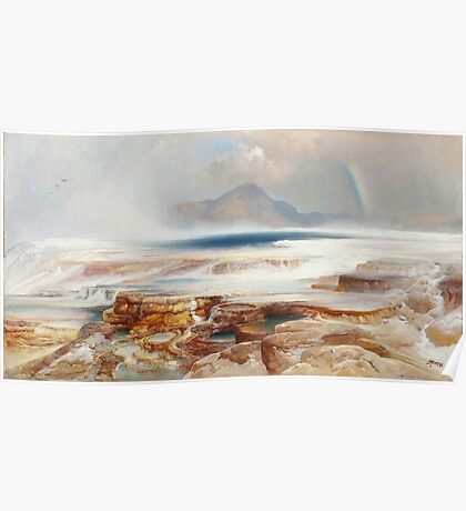 Thomas Moran - Hot Springs Of The Yellowstone 1872. Mountains landscape: mountains, rocks, rocky nature, sky and clouds, trees, peak, forest, Canyon, hill, travel, hillside Poster