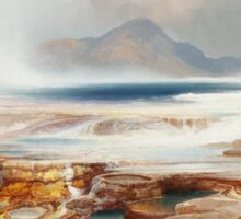 Thomas Moran - Hot Springs Of The Yellowstone 1872. Mountains landscape: mountains, rocks, rocky nature, sky and clouds, trees, peak, forest, Canyon, hill, travel, hillside Sticker