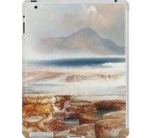 Thomas Moran - Hot Springs Of The Yellowstone 1872. Mountains landscape: mountains, rocks, rocky nature, sky and clouds, trees, peak, forest, Canyon, hill, travel, hillside iPad Case/Skin