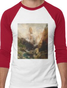 Thomas Moran - Mist In Kanab Canyon, Utah. Mountains landscape: mountains, rocks, rocky nature, sky and clouds, trees, peak, forest, Canyon, hill, travel, hillside Men's Baseball ¾ T-Shirt