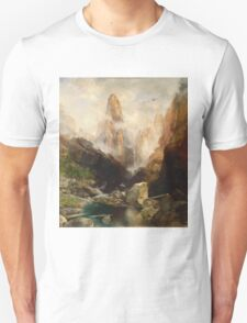 Thomas Moran - Mist In Kanab Canyon, Utah. Mountains landscape: mountains, rocks, rocky nature, sky and clouds, trees, peak, forest, Canyon, hill, travel, hillside Unisex T-Shirt