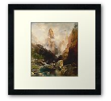 Thomas Moran - Mist In Kanab Canyon, Utah. Mountains landscape: mountains, rocks, rocky nature, sky and clouds, trees, peak, forest, Canyon, hill, travel, hillside Framed Print